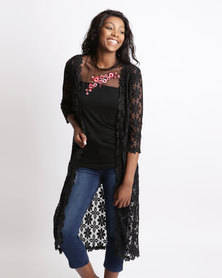 Queenspark Longer Lace Knit Jacket Black