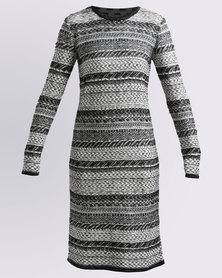 Queenspark Cath.Nic Ethnic Design Knit Dress Black/White
