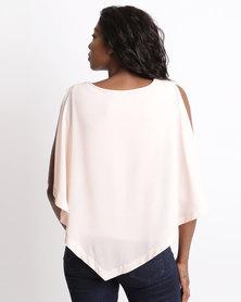 Queenspark Cold Shoulder Woven Blouse Pink