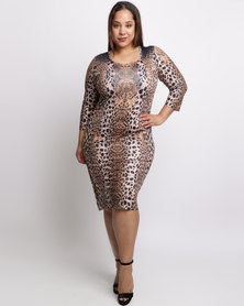 Queenspark Plus New Animal Beaded Knit Dress Brown