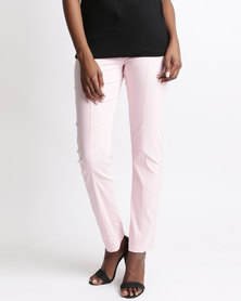 Queenspark Detail Stretch Woven Slacks Pink