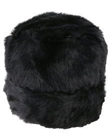 Queenspark Plain Turned Up Faux Fur Cossack Hat Black