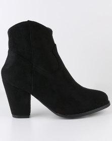 Queenspark Chunky Medium Heel Micro Fibre Slouch Boot Black