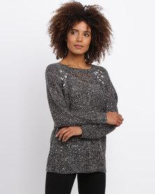 Queenspark Embellished Knitwear Round Neck Style Grey
