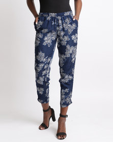 Queenspark Helena Printed Woven Trousers Navy