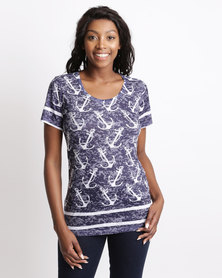 Queenspark Knot's Landing Printed Fashion Knit Top Navy