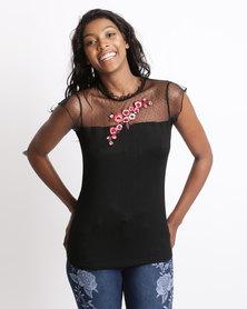 Queenspark Lisa Knit Top Black