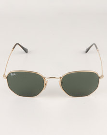 Ray-Ban Hexagonal Frame With Green Lens Gold-tone