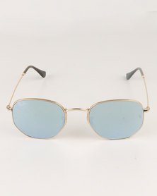 Ray-Ban Hexagonal Frame With Grey Flash Lens Gold-tone