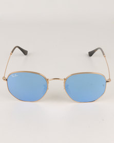 Ray-Ban Hexagonal Frame With Light Blue Flash Lens Gold-tone