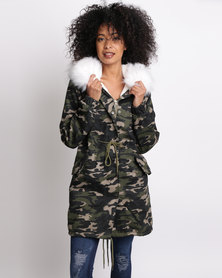 Revenge Camo Jacket With White Fur Trim Multi