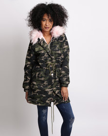 Revenge Camo Jacket With Pink Fur Trim Multi
