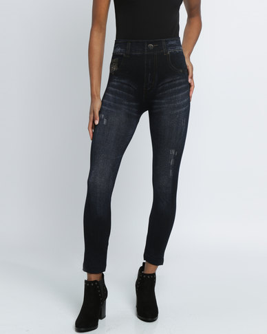 Revenge Jeggings with Distressed Detailing Indigo