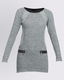 Revenge Long Sleeve With Zip Pockets Dress Grey