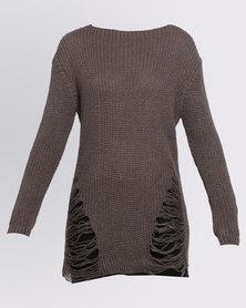Revenge Distressed Knitwear Top Brown