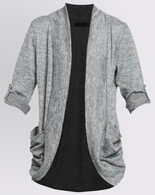 Revenge Knitted Cardigan With Pockets Grey