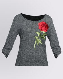 Revenge Rose Embroidered Top Black