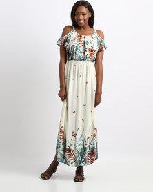 Revenge Maxi Off Shoulder Printed Dress White
