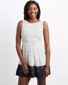 Revenge Dot Print Flared Dress White