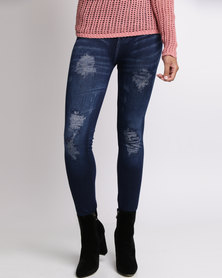 Revenge Distressed Jeggings Indigo