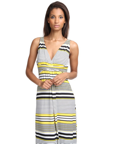 Revenge Stripe Maxi Dress Yellow/White/Black