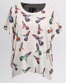 Revenge Printed Bird Top Beige