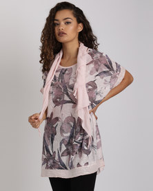 Revenge Italian Floral Top With Scarf Pink