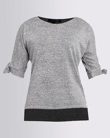 Revenge Cold Shoulder Knit Top Grey
