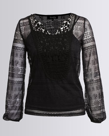 Revenge 2 In 1 Lace Top Black