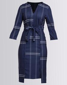 Revenge Check Wrap Front Dress Blue