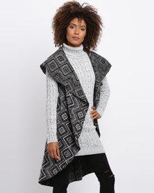Revenge Printed Knitted Jacket Grey