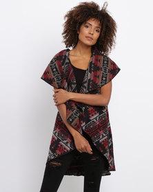 Revenge Printed Knitted Jacket Burgundy