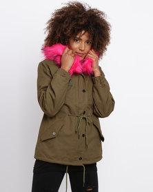 Revenge Parka With Fuchsia Faux Fur Hood Khaki