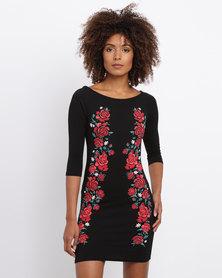 Revenge Bardot Off Shoulder Rose Print Dress Black