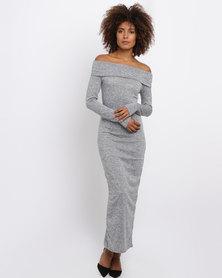 Revenge Knitted Maxi Dress Grey