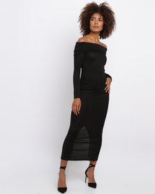 Revenge Knitted Maxi Dress Black