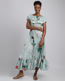 Revenge Ruffle Floral Print Maxi Dress Green