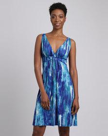 Revenge Tie Dye V-Neck Short Dress Blue