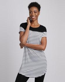 Revenge Longer Length Stripe T-Shirt Black