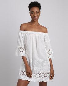 Revenge Off Shoulder Lace Trim Dress White