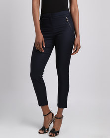 Revenge Casual Trousers with Side Zips Navy