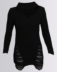 Revenge Hi Neck Distressed Knitwear Black