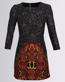 Revenge Border Print Dress 3/4 Sleeves Multi