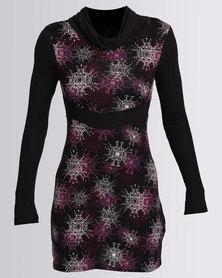 Revenge Cowl Neck Printed Long Sleeve Dress Black