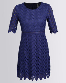 Revenge Lace Diamond Dress Blue