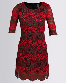 Revenge Lace Dress Red