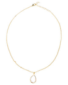 Rings & Things Tear Drop Crystal Necklace Gold-Tone