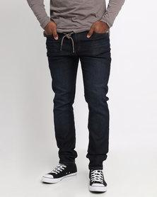 Ringspun Riskin Dark Wash Skinny Jeans Blue