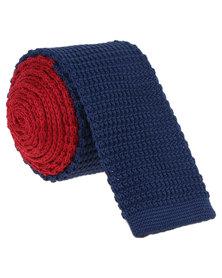 Robert Daniel Mens Knitted Tie Red
