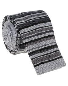 Robert Daniel Mens Knitted Tie Brown